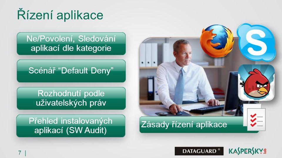 7 | Řízení aplikace Ne/Povolení, Sledování aplikací dle kategorie Scénář Default Deny Rozhodnutí podle uživatelských práv Přehled instalovaných aplikací (SW Audit) Zásady řízení aplikace