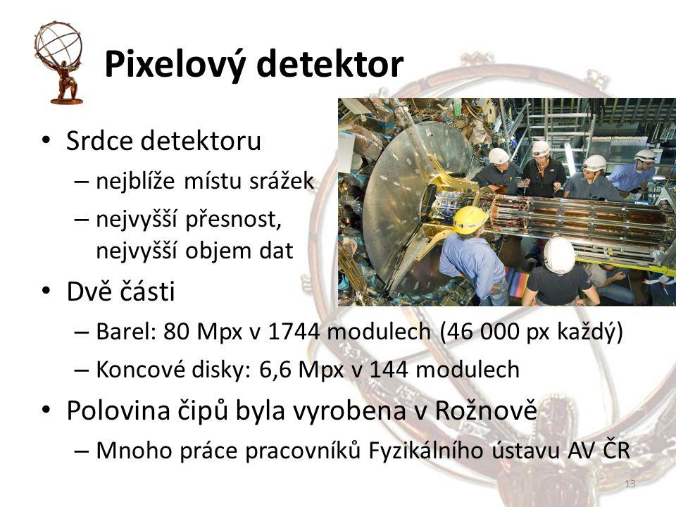Pixelový detektor Srdce detektoru – nejblíže místu srážek – nejvyšší přesnost, nejvyšší objem dat Dvě části – Barel: 80 Mpx v 1744 modulech (46 000 px každý) – Koncové disky: 6,6 Mpx v 144 modulech Polovina čipů byla vyrobena v Rožnově – Mnoho práce pracovníků Fyzikálního ústavu AV ČR 13