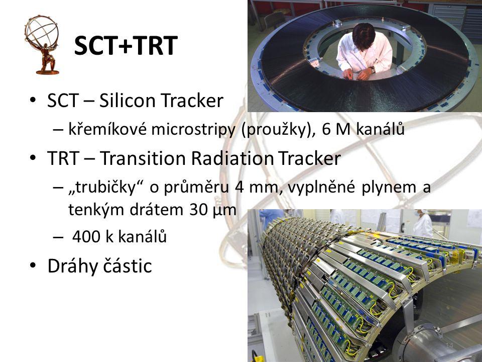 """SCT+TRT SCT – Silicon Tracker – křemíkové microstripy (proužky), 6 M kanálů TRT – Transition Radiation Tracker – """"trubičky o průměru 4 mm, vyplněné plynem a tenkým drátem 30 μm – 400 k kanálů Dráhy částic 14"""