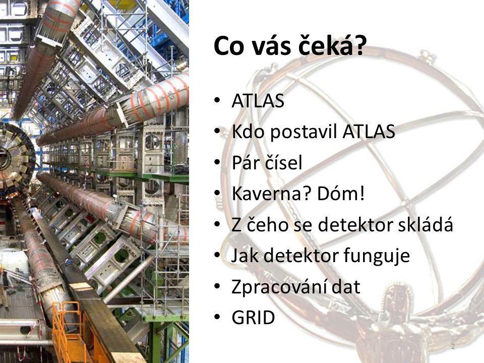 Co vás čeká? ATLAS Kdo postavil ATLAS Pár čísel Kaverna? Dóm! Z čeho se detektor skládá Jak detektor funguje Zpracování dat GRID 2
