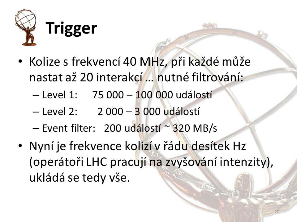 Trigger Kolize s frekvencí 40 MHz, při každé může nastat až 20 interakcí … nutné filtrování: – Level 1: 75 000 – 100 000 událostí – Level 2: 2 000 – 3 000 událostí – Event filter: 200 událostí ~ 320 MB/s Nyní je frekvence kolizí v řádu desítek Hz (operátoři LHC pracují na zvyšování intenzity), ukládá se tedy vše.