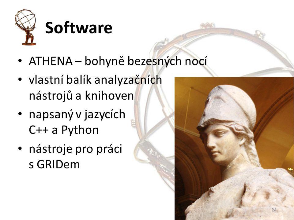 Software ATHENA – bohyně bezesných nocí vlastní balík analyzačních nástrojů a knihoven napsaný v jazycích C++ a Python nástroje pro práci s GRIDem 24