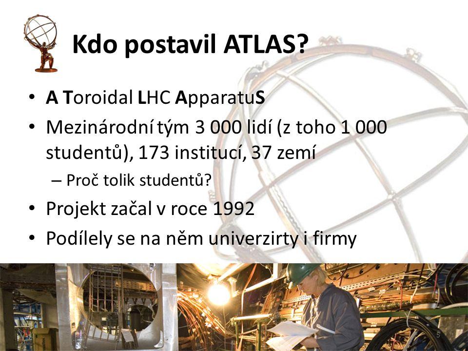 Kdo postavil ATLAS? A Toroidal LHC ApparatuS Mezinárodní tým 3 000 lidí (z toho 1 000 studentů), 173 institucí, 37 zemí – Proč tolik studentů? Projekt
