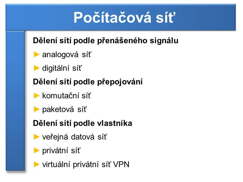 Dělení sítí podle přenášeného signálu ►analogová síť ►digitální síť Dělení sítí podle přepojování ►komutační síť ►paketová síť Dělení sítí podle vlast
