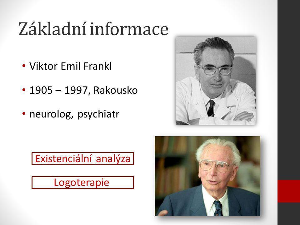 Základní informace Viktor Emil Frankl 1905 – 1997, Rakousko neurolog, psychiatr Existenciální analýza Logoterapie