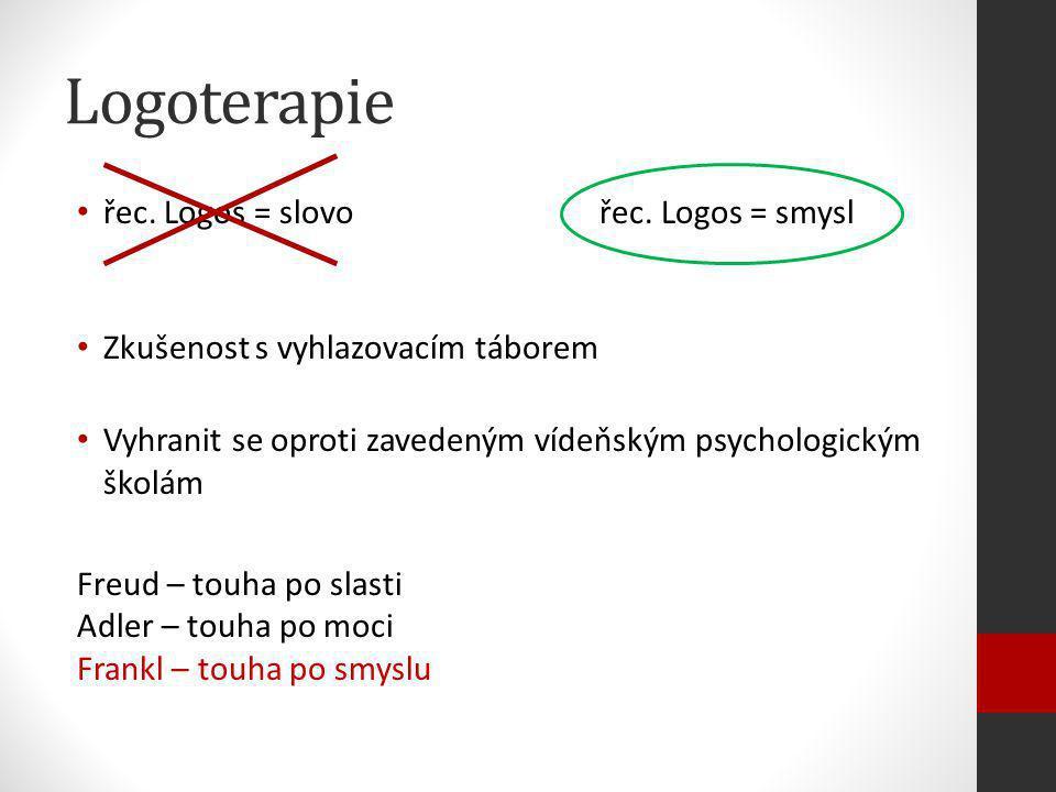 Logoterapie řec. Logos = slovo řec. Logos = smysl Zkušenost s vyhlazovacím táborem Vyhranit se oproti zavedeným vídeňským psychologickým školám Freud
