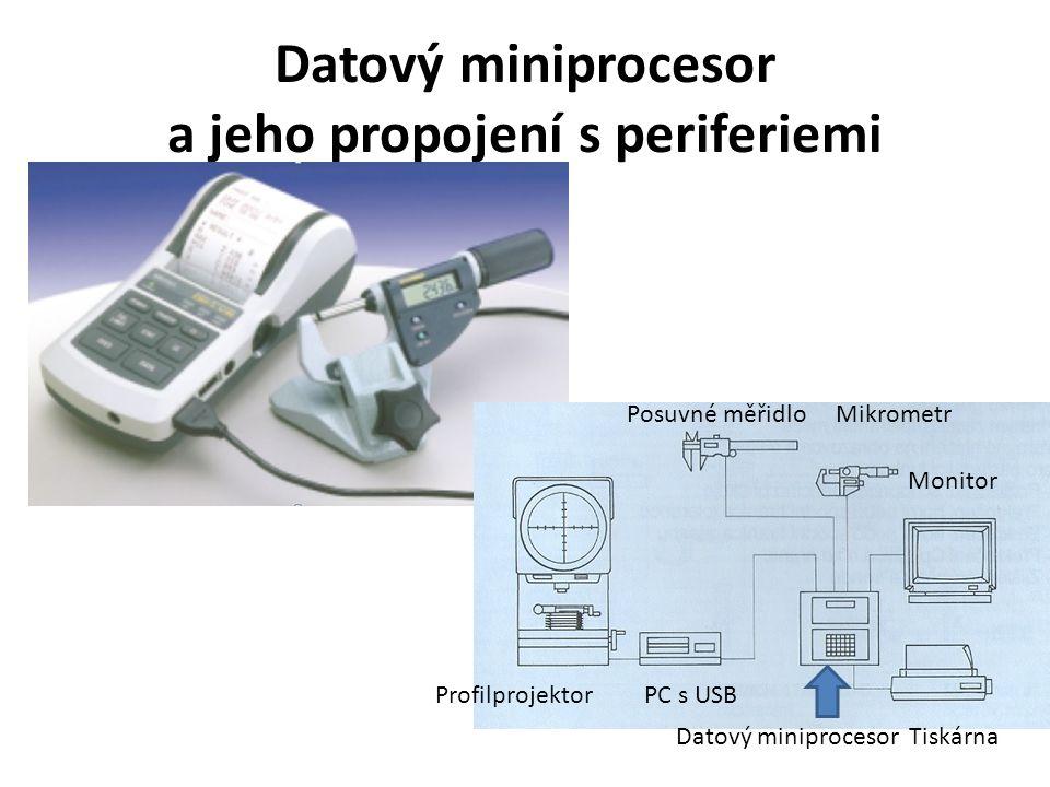 Datový miniprocesor a jeho propojení s periferiemi Posuvné měřidlo Mikrometr Datový miniprocesor Tiskárna Profilprojektor PC s USB Monitor
