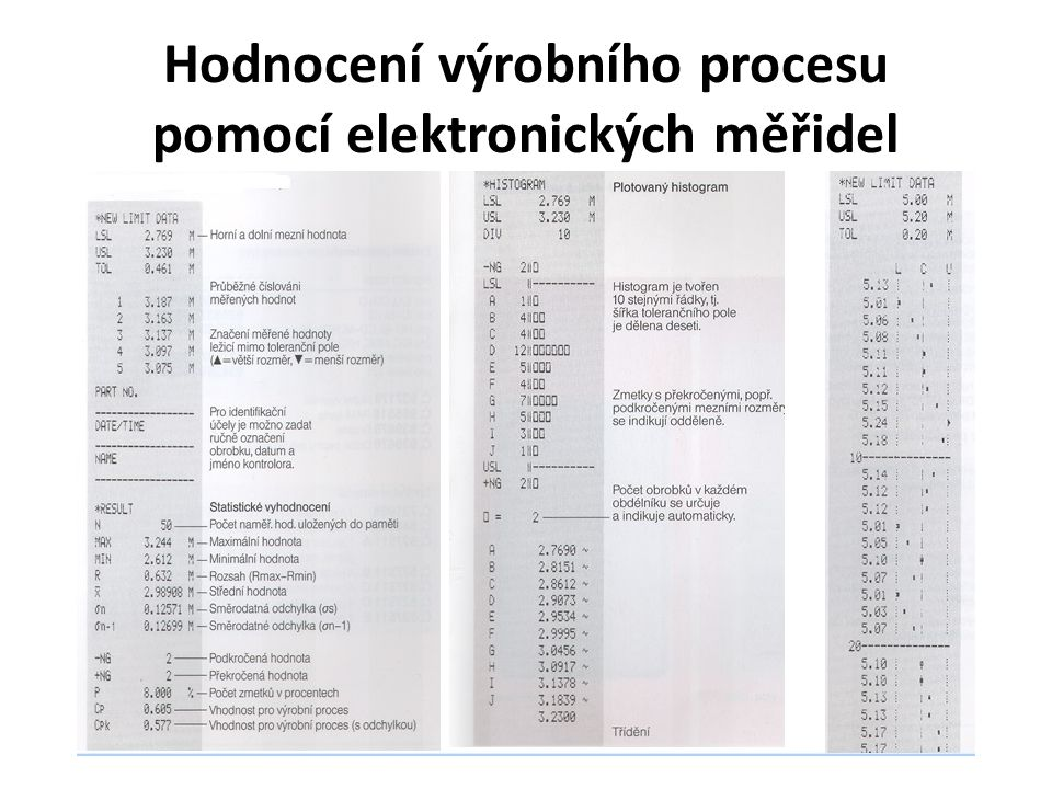 Hodnocení výrobního procesu pomocí elektronických měřidel