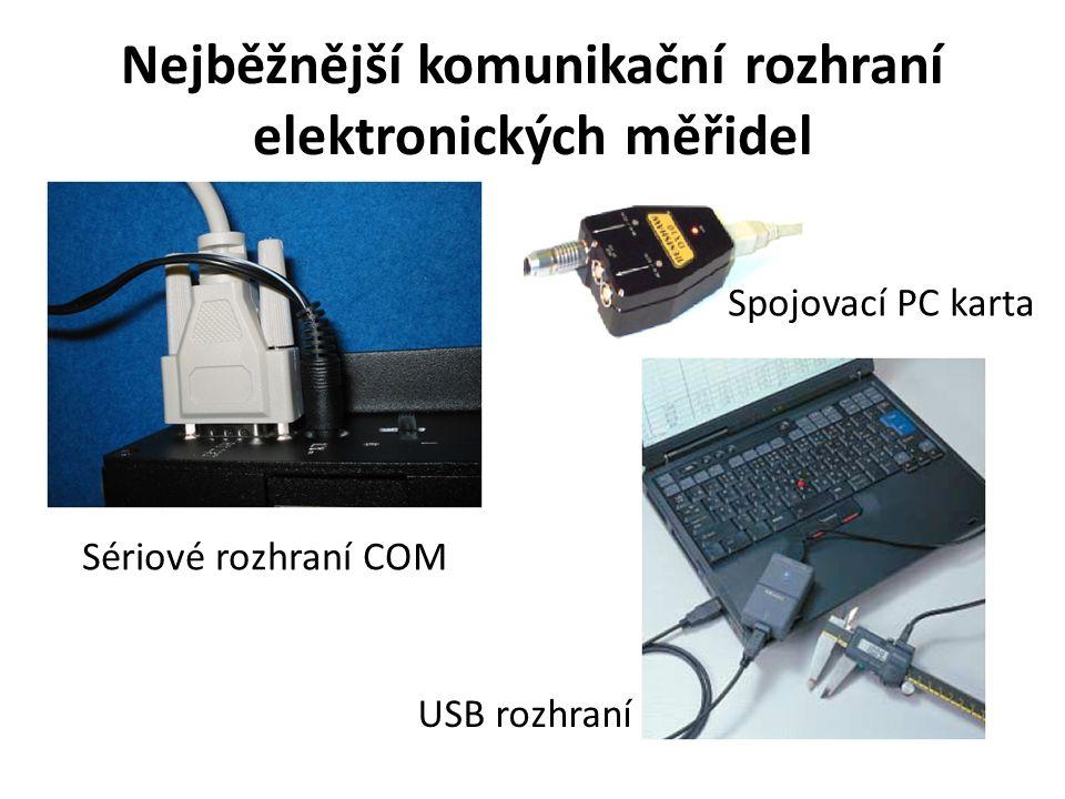 Nejběžnější komunikační rozhraní elektronických měřidel Sériové rozhraní COM USB rozhraní Spojovací PC karta