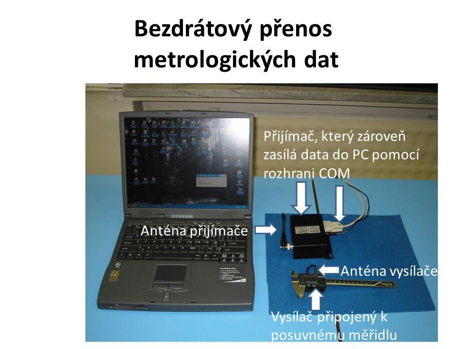 Bezdrátový přenos metrologických dat Přijímač, který zároveň zasílá data do PC pomocí rozhrani COM Vysílač připojený k posuvnému měřidlu Anténa vysílače Anténa přijímače
