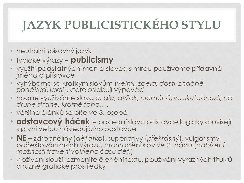 JAZYK PUBLICISTICKÉHO STYLU neutrální spisovný jazyk typické výrazy = publicismy využití podstatných jmen a sloves, s mírou používáme přídavná jména a