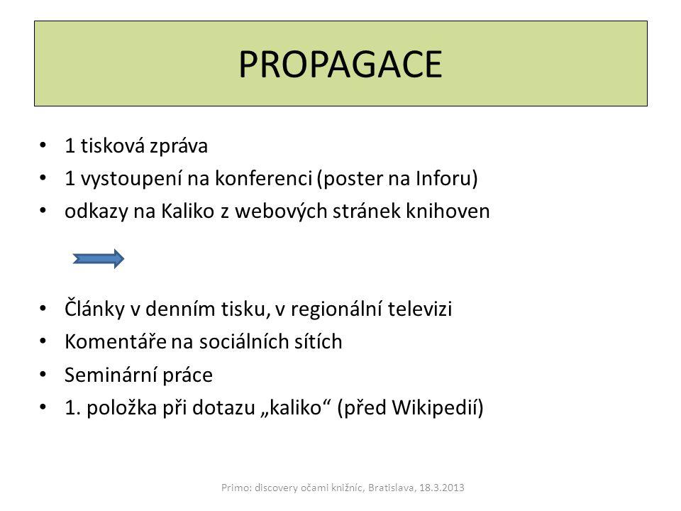 PROPAGACE 1 tisková zpráva 1 vystoupení na konferenci (poster na Inforu) odkazy na Kaliko z webových stránek knihoven Články v denním tisku, v regionální televizi Komentáře na sociálních sítích Seminární práce 1.