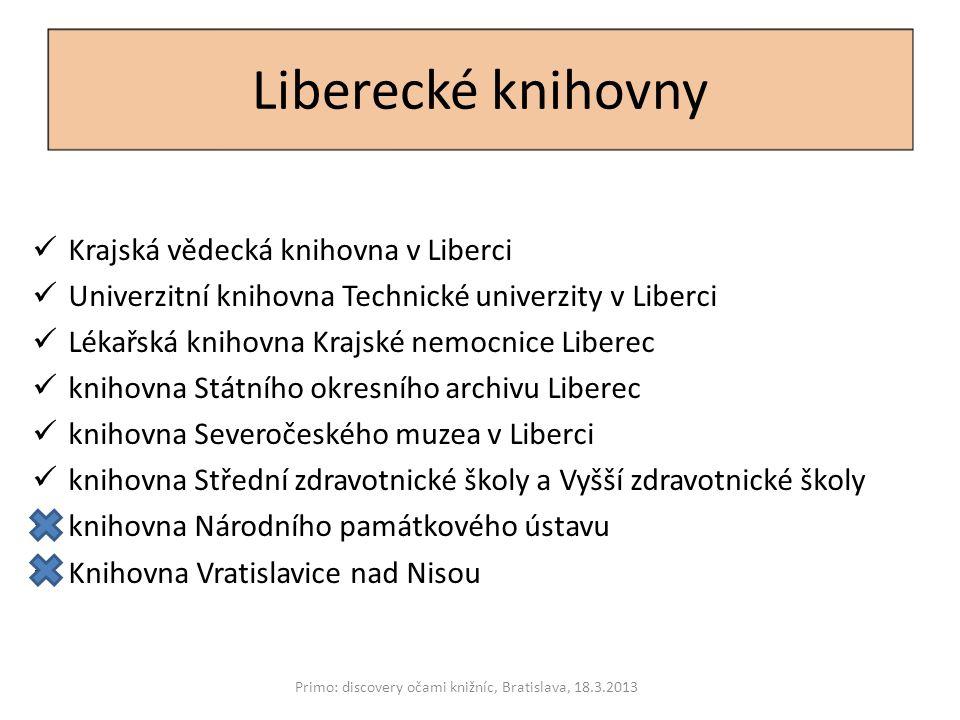 Příhraniční knihovny Hochschulbibliothek Zittau/Görlitz Ksiaznica Karkonoska Primo: discovery očami knižníc, Bratislava, 18.3.2013