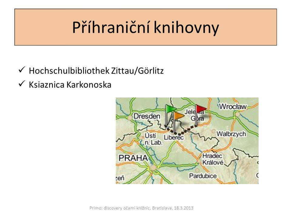 Detaily přípravy Primo: discovery očami knižníc, Bratislava, 18.3.2013 Smlouvy pro předání metadat Aktualizace dat Postup hlášení chyb Výběr domény (výběr serveru!) Vzhled webového rozhraní Název a logo