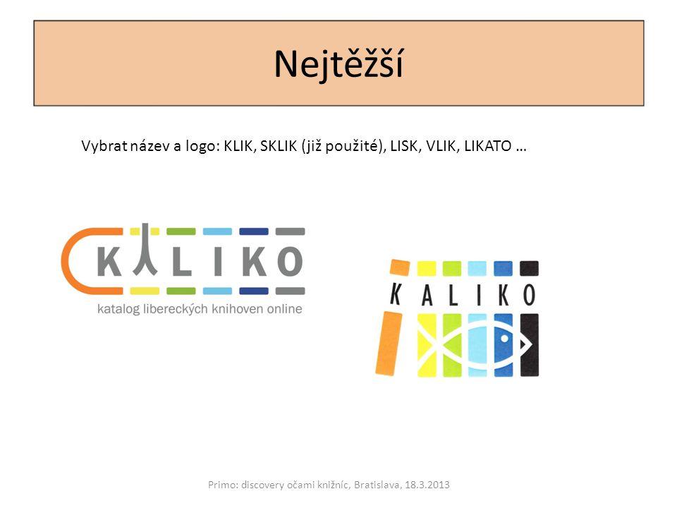 Nejtěžší Primo: discovery očami knižníc, Bratislava, 18.3.2013 Vybrat název a logo: KLIK, SKLIK (již použité), LISK, VLIK, LIKATO …