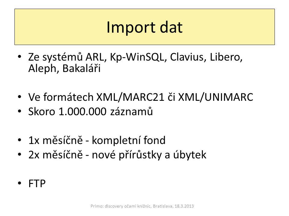 Import dat Ze systémů ARL, Kp-WinSQL, Clavius, Libero, Aleph, Bakaláři Ve formátech XML/MARC21 či XML/UNIMARC Skoro 1.000.000 záznamů 1x měsíčně - kompletní fond 2x měsíčně - nové přírůstky a úbytek FTP Primo: discovery očami knižníc, Bratislava, 18.3.2013
