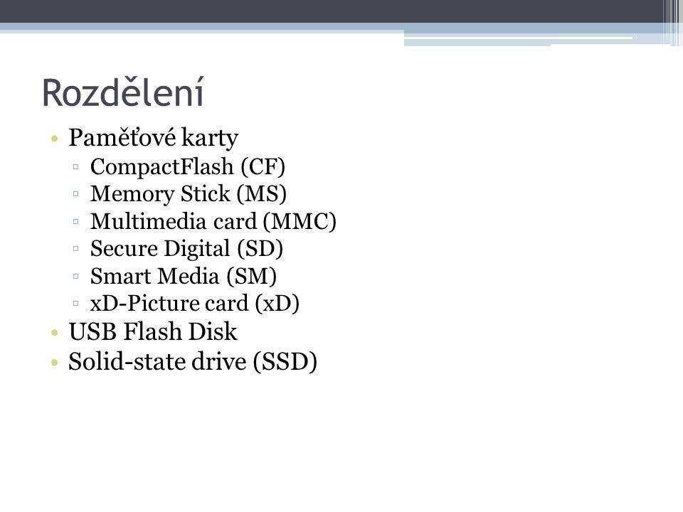 Rozdělení Paměťové karty ▫CompactFlash (CF) ▫Memory Stick (MS) ▫Multimedia card (MMC) ▫Secure Digital (SD) ▫Smart Media (SM) ▫xD-Picture card (xD) USB