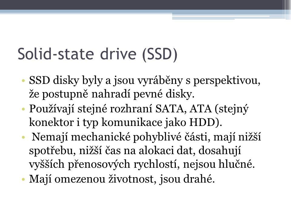 Solid-state drive (SSD) SSD disky byly a jsou vyráběny s perspektivou, že postupně nahradí pevné disky. Používají stejné rozhraní SATA, ATA (stejný ko