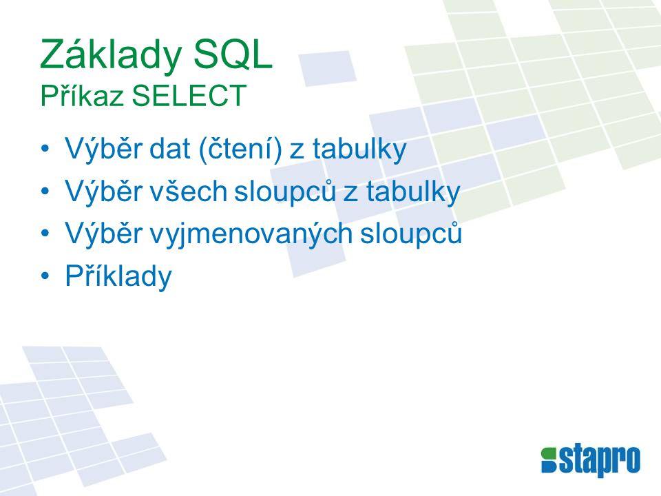 Základy SQL Příkaz SELECT Výběr dat (čtení) z tabulky Výběr všech sloupců z tabulky Výběr vyjmenovaných sloupců Příklady