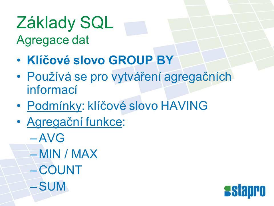 Základy SQL Agregace dat Klíčové slovo GROUP BY Používá se pro vytváření agregačních informací Podmínky: klíčové slovo HAVING Agregační funkce: –AVG –