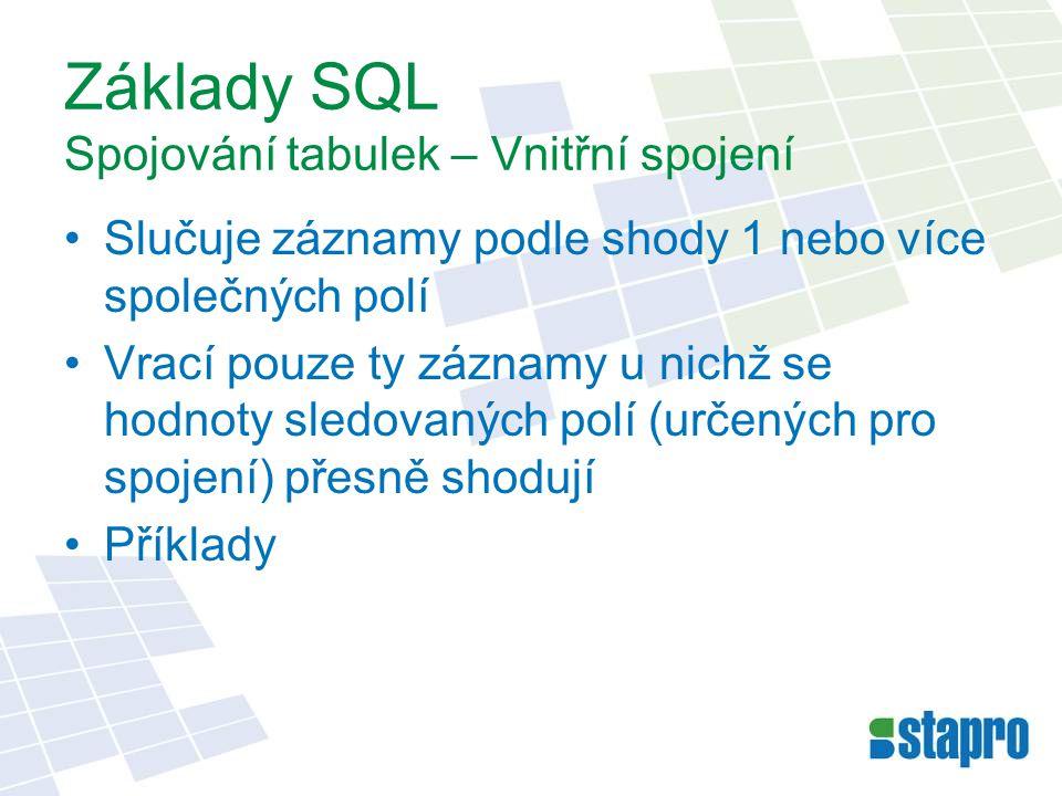 Základy SQL Spojování tabulek – Vnitřní spojení Slučuje záznamy podle shody 1 nebo více společných polí Vrací pouze ty záznamy u nichž se hodnoty sled