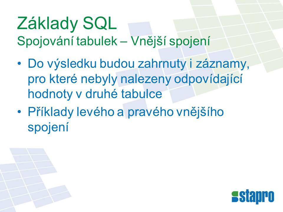 Základy SQL Spojování tabulek – Vnější spojení Do výsledku budou zahrnuty i záznamy, pro které nebyly nalezeny odpovídající hodnoty v druhé tabulce Př