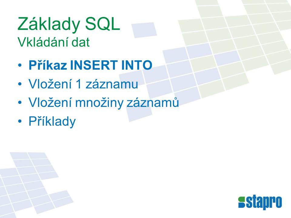 Základy SQL Vkládání dat Příkaz INSERT INTO Vložení 1 záznamu Vložení množiny záznamů Příklady