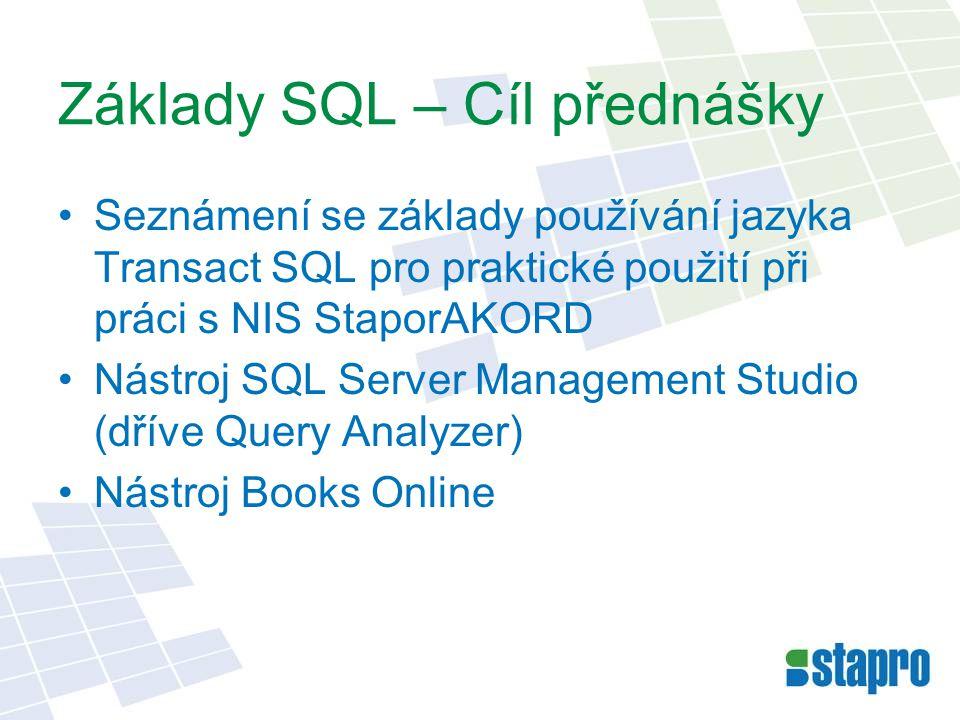 Základy SQL Spojování tabulek Data jsou uložena ve více tabulkách, mezi nimi existují vazby (relace) Slouží k propojení více tabulek do 1 výsledkové sady Druhy spojení: –Vnitřní spojení – (INNER) JOIN –Levé/ Pravé vnější spojení – LEFT / RIGHT (OUTER) JOIN –Plné spojení – FULL JOIN