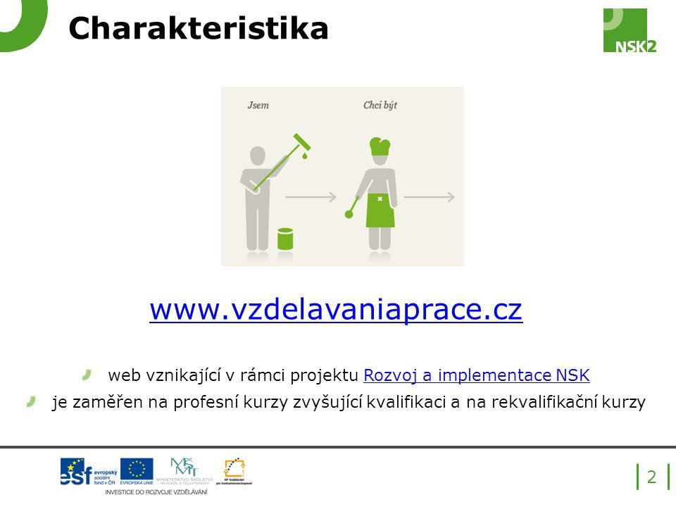 Charakteristika www.vzdelavaniaprace.cz web vznikající v rámci projektu Rozvoj a implementace NSKRozvoj a implementace NSK je zaměřen na profesní kurzy zvyšující kvalifikaci a na rekvalifikační kurzy 2