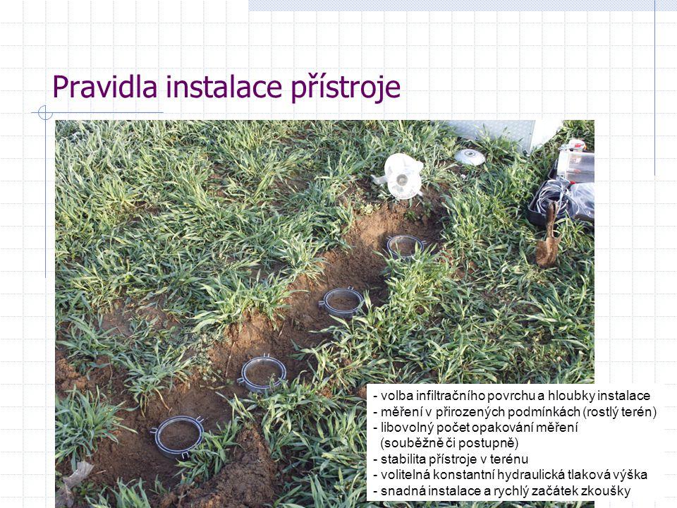 5 Pravidla instalace přístroje - volba infiltračního povrchu a hloubky instalace - měření v přirozených podmínkách (rostlý terén) - libovolný počet opakování měření (souběžně či postupně) - stabilita přístroje v terénu - volitelná konstantní hydraulická tlaková výška - snadná instalace a rychlý začátek zkoušky