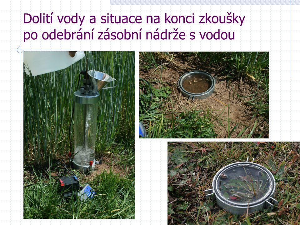 Dolití vody a situace na konci zkoušky po odebrání zásobní nádrže s vodou