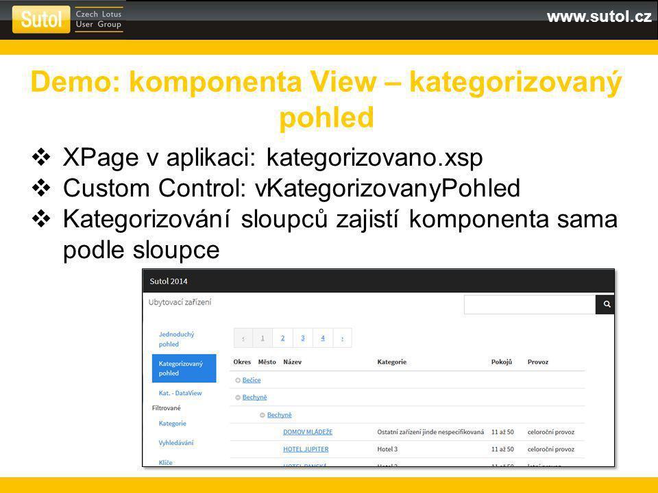 www.sutol.cz  XPage v aplikaci: kategorizovano.xsp  Custom Control: vKategorizovanyPohled  Kategorizování sloupců zajistí komponenta sama podle sloupce Demo: komponenta View – kategorizovaný pohled