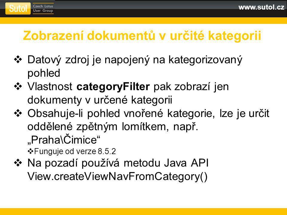 www.sutol.cz  Datový zdroj je napojený na kategorizovaný pohled  Vlastnost categoryFilter pak zobrazí jen dokumenty v určené kategorii  Obsahuje-li pohled vnořené kategorie, lze je určit oddělené zpětným lomítkem, např.