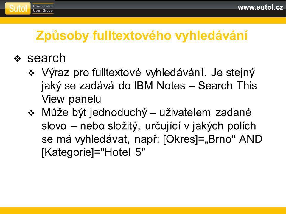 www.sutol.cz  search  Výraz pro fulltextové vyhledávání.