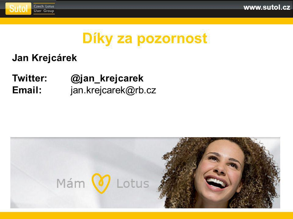www.sutol.cz Díky za pozornost Jan Krejcárek Twitter:@jan_krejcarek Email:jan.krejcarek@rb.cz