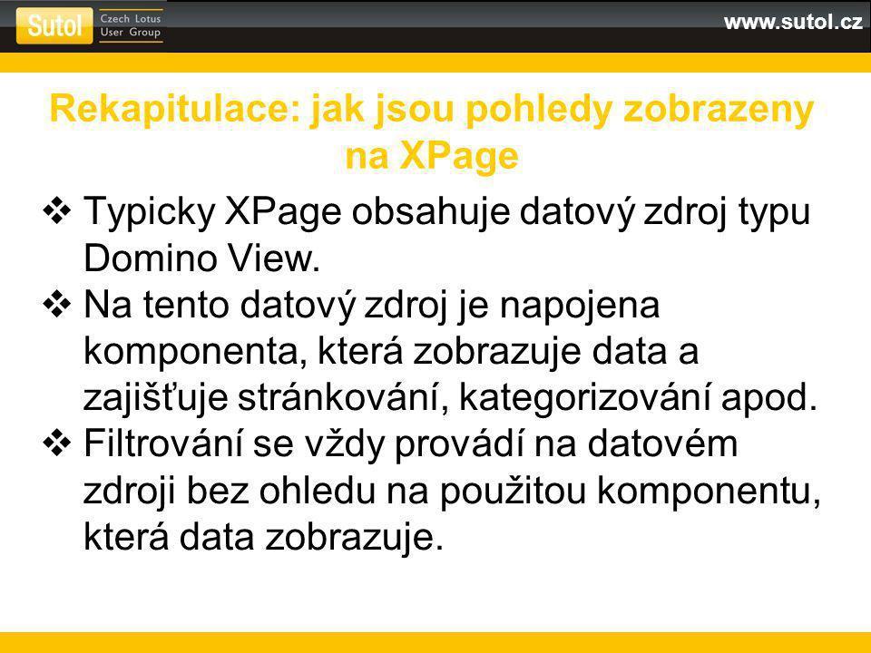 www.sutol.cz  Typicky XPage obsahuje datový zdroj typu Domino View.