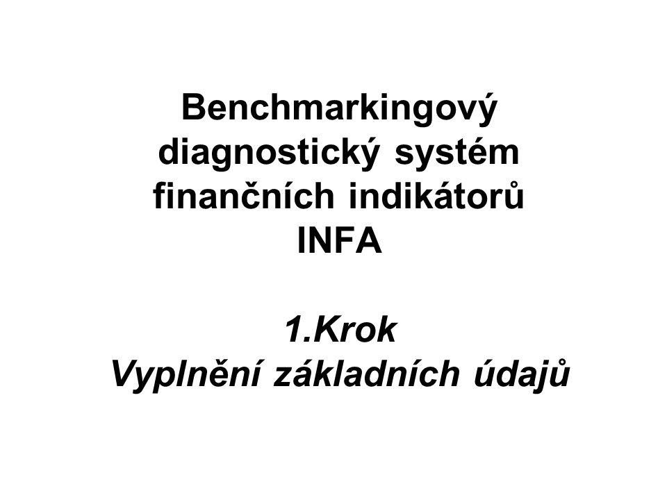 Benchmarkingový diagnostický systém finančních indikátorů INFA 1.Krok Vyplnění základních údajů