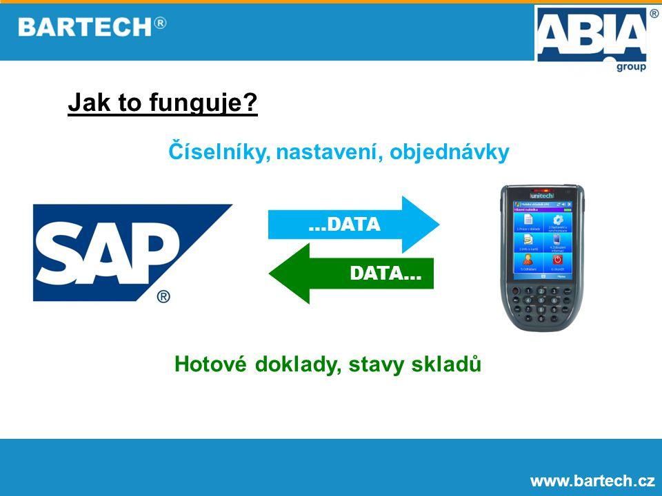 www.bartech.cz Jak to funguje?...DATA DATA... Číselníky, nastavení, objednávky Hotové doklady, stavy skladů