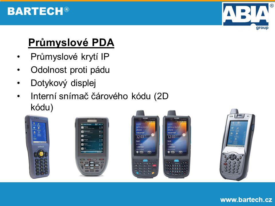 www.bartech.cz Průmyslové PDA Průmyslové krytí IP Odolnost proti pádu Dotykový displej Interní snímač čárového kódu (2D kódu)