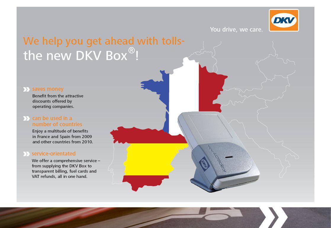 Výhody nového DKV Boxu » Slevy na mýtném: až 13% ve Francii a až 50% ve Španělsku prostřednictvím slev od operátorů v těchto zemích.