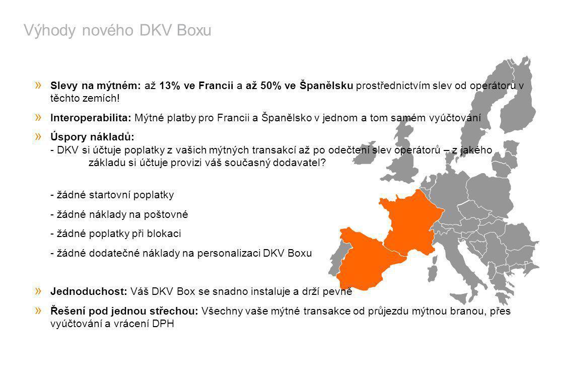 Výhody nového DKV Boxu » Slevy na mýtném: až 13% ve Francii a až 50% ve Španělsku prostřednictvím slev od operátorů v těchto zemích! » Interoperabilit