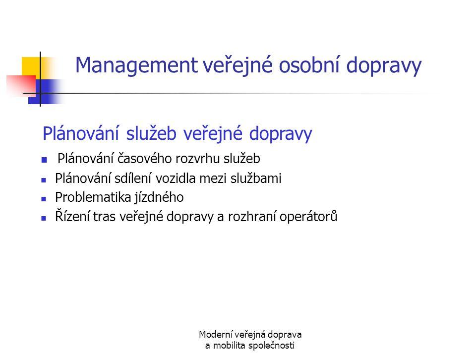 Moderní veřejná doprava a mobilita společnosti Management veřejné osobní dopravy Plánování služeb veřejné dopravy Plánování časového rozvrhu služeb Pl