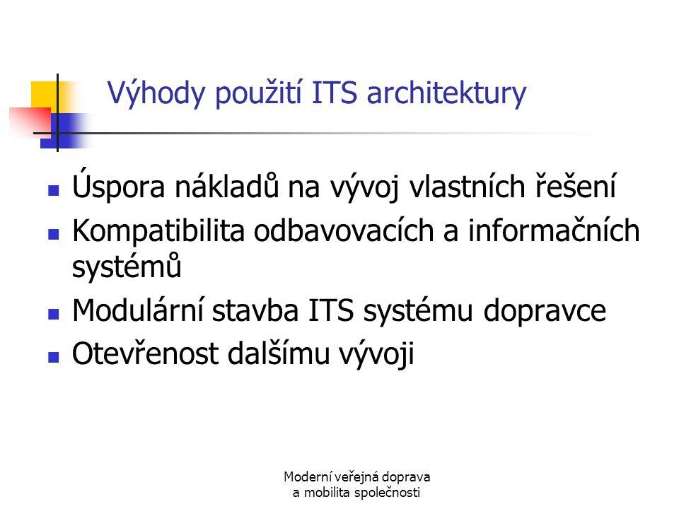 Moderní veřejná doprava a mobilita společnosti Výhody použití ITS architektury Úspora nákladů na vývoj vlastních řešení Kompatibilita odbavovacích a i
