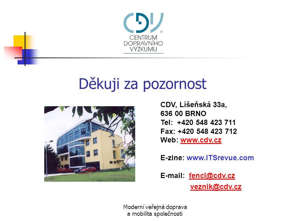 Moderní veřejná doprava a mobilita společnosti Děkuji za pozornost CDV, Líšeňská 33a, 636 00 BRNO Tel: +420 548 423 711 Fax: +420 548 423 712 Web: www