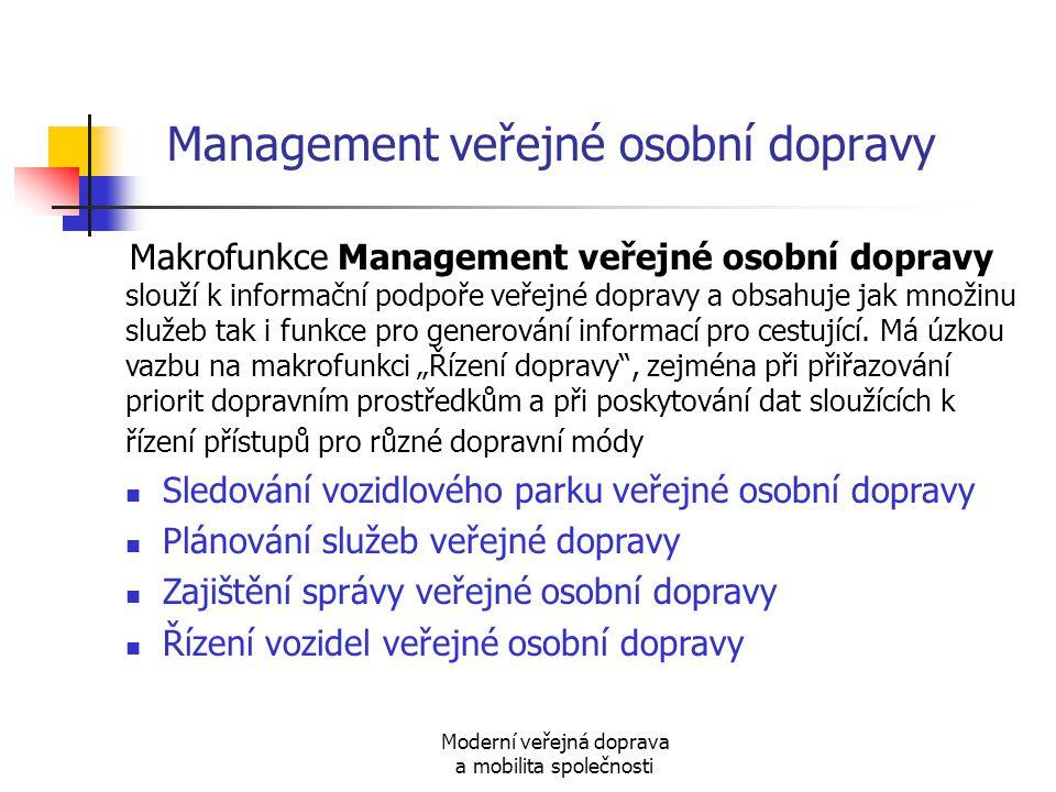 Moderní veřejná doprava a mobilita společnosti Management veřejné osobní dopravy Makrofunkce Management veřejné osobní dopravy slouží k informační pod