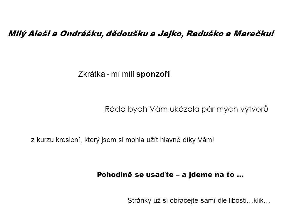 Milý Aleši a Ondrášku, dědoušku a Jajko, Raduško a Marečku! Zkrátka - mí milí sponzoři Ráda bych Vám ukázala pár mých výtvorů z kurzu kreslení, který
