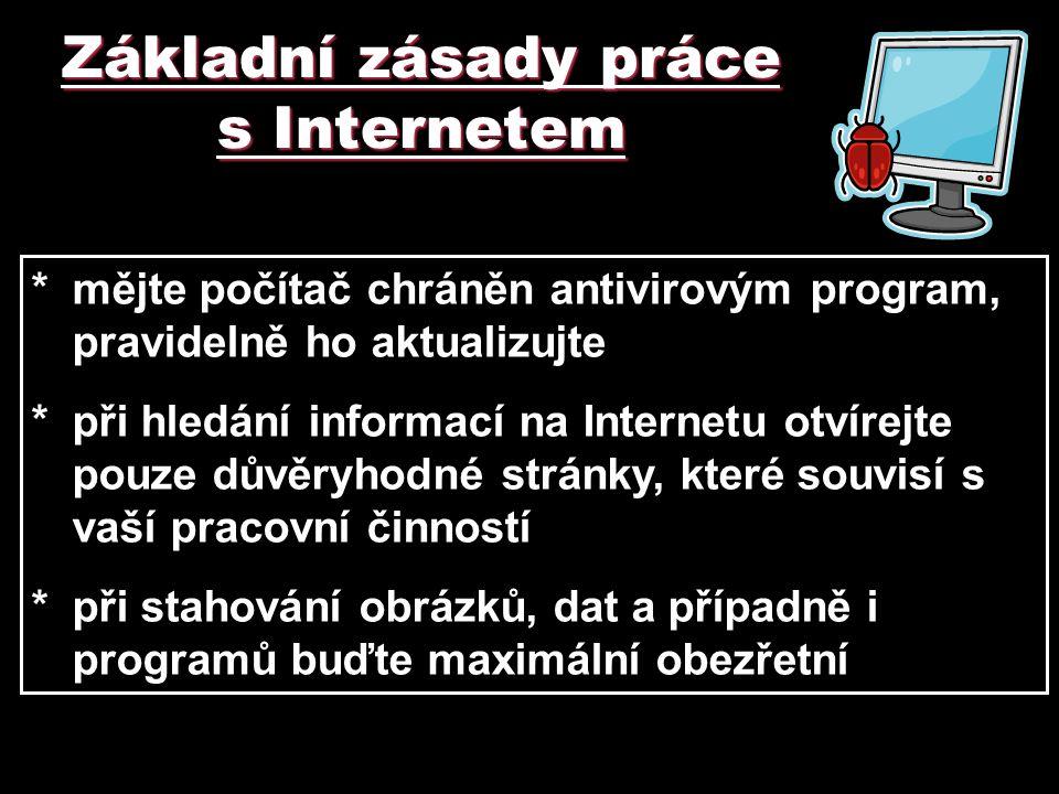 Základní zásady práce s Internetem *mějte počítač chráněn antivirovým program, pravidelně ho aktualizujte *při hledání informací na Internetu otvírejt