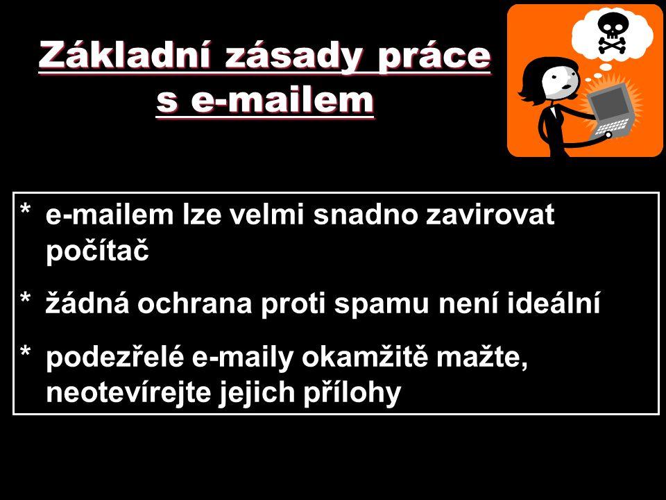 Základní zásady práce s e-mailem *e-mailem lze velmi snadno zavirovat počítač *žádná ochrana proti spamu není ideální *podezřelé e-maily okamžitě mažt