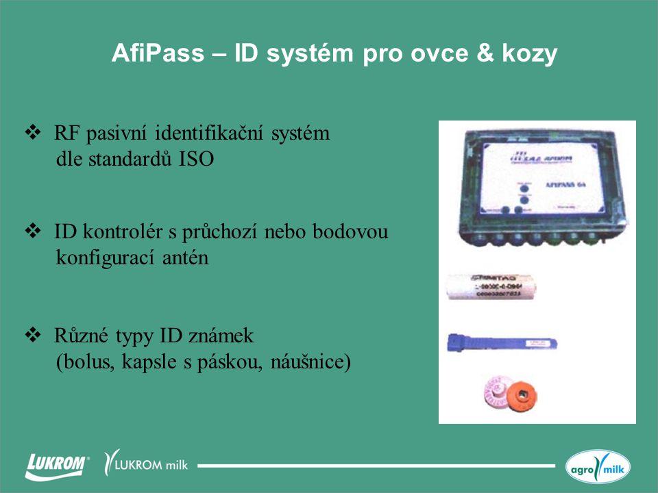 AfiPass – ID systém pro ovce & kozy  Různé typy ID známek (bolus, kapsle s páskou, náušnice)  RF pasivní identifikační systém dle standardů ISO  ID kontrolér s průchozí nebo bodovou konfigurací antén