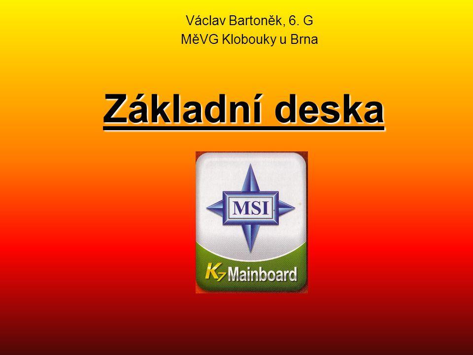 """Základní deska Základní deska se také označuje jako """"mainboard nebo """"motherboard Je to deska plošného spoje tvořící základ celého počítače Základní deska obsahuje : - procesor - patici pro numerický koprocesor - obvody čipové sady - rozšiřující sběrnici (BUS) - paměti - vyrovnávací cache paměť - sloty umístěné na rozšiřující sběrnici pro připojení rozšiřujících karet - CMOS paměť - hodiny reálného času - akumulátor zálohující CMOS paměť a zajišťující chod hodin Další strana"""